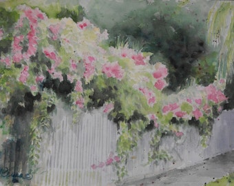 """Original watercolor painting of a pink flowered vine on a fence, """"Blooming Fence"""", by Nancy Reyna. 11:x15"""""""