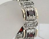 Stunning Handcrafted Yellow Gold Silver Gold Garnet Bracelet (s b1609