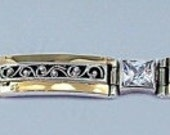 Great Filigree Silver integrated 9K yellow gold and CZ Bracelet  (s b1662