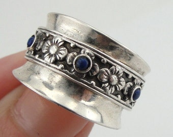 SALE! Silver Lapis band, New Woman israel Handmade 925 Silver Swivel Lapis Ring Size 6, Blue stone ring, Free shipping (r 10309)