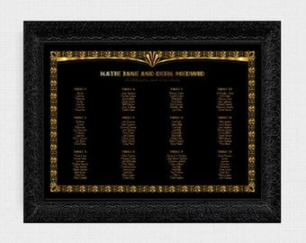 gorgeous gatsby wedding seating chart - printable file - seating plan 1920s art deco black gold, reception decor hollywood glamor table plan