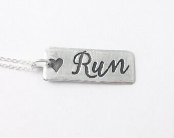 Silver Rectangle Run Script Necklace - I love running, running inspiration necklace