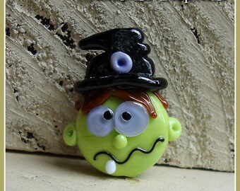 Crazy Witch Halloween Lampwork Bead