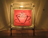 Night Light FREE SHIPPING  Red coffee cup handmade glass block lamp. original artwork for kitchen decor, wedding gift, upcycled gift