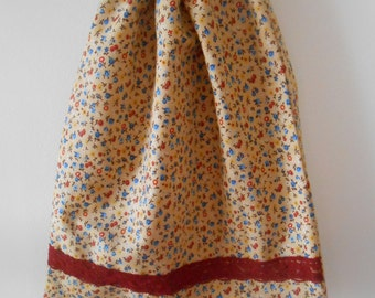 Womens Lovely Maroon Floral Fabric Drawstring Shoe or Lingerie Bag with inner compartment