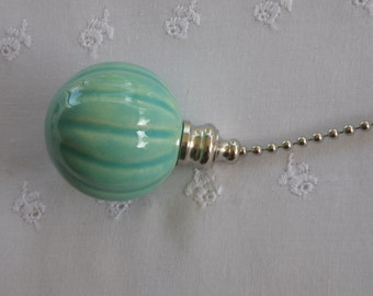 Fluted Pottery Fan Pull - Turquoise - Nickel or Brass Hardware - USA Made