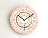 clock gold brown sand peach coral ombre simple geometric home decor kitchen clock christmas gift holiday decor hostess housewarming wall art