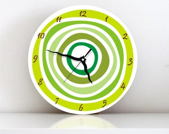 Green Circles Geometric Modern wall clock