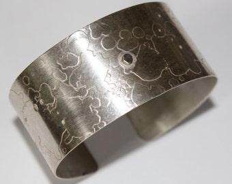 Handmade Textured Silver Cuff Bangle Bracelet