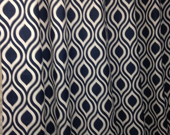 "Pair of designer drapes, two 50"" wide curtain panels, Nicole navy blue and white"