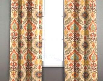 "Two 50"" wide designer curtain panels, drapes Waverly Santa Maria adobe"