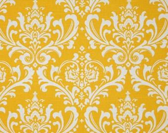 "Fabric shower curtain, Ozborne damask, slub corn yellow cotton print, 72"", 84"", 90"", 96"", 108"" custom sizes available"