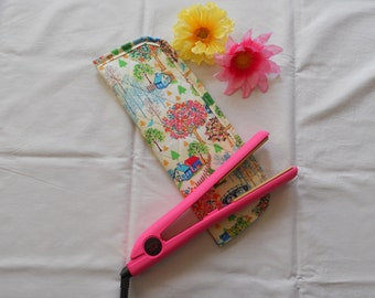 Hair Straightener/Curling Iron Heat-Resistant Cover - Country Cottage