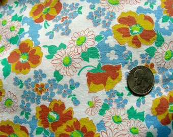 Vintage Feedsack Cotton Quilting Fabric - STILLaSACK - SWEET Little Lime Green & Blue Flowers on White  //  35 x 44