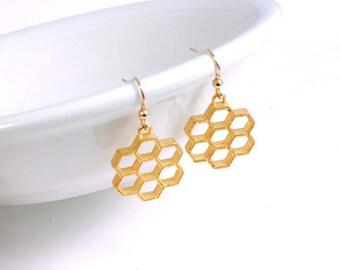 Honeycomb Earrings, Gold plated Stainless Steel Earrings, Bumblebee Jewelry, Geometric