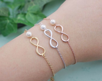 Infinity and Swarovski Pearl bracelet infinity bracelet bridesmaid gift, wedding jewelry, bridesmaid Bracelet, Bridesmaid Jewelry (B-B-0011)