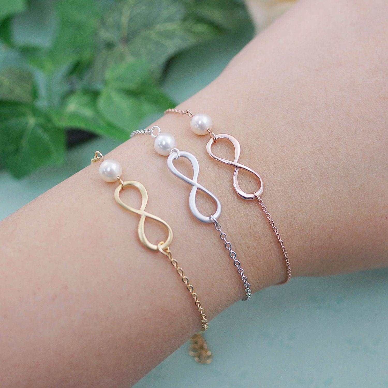 Swarovski Charm Bracelet: Infinity And Swarovski Pearl Bracelet Infinity Bracelet