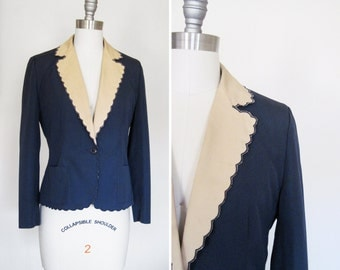 DARLING Vintage Ladies' Scalloped Blue and Beige Blazer sz XS - Small
