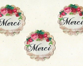 French Stickers Roses MERCI 18pcs