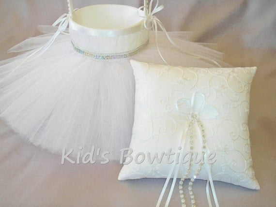 Custom Wedding Flower Girl Basket with Matching Ring Bearer Pillow-  Flower Girl Tutu Basket