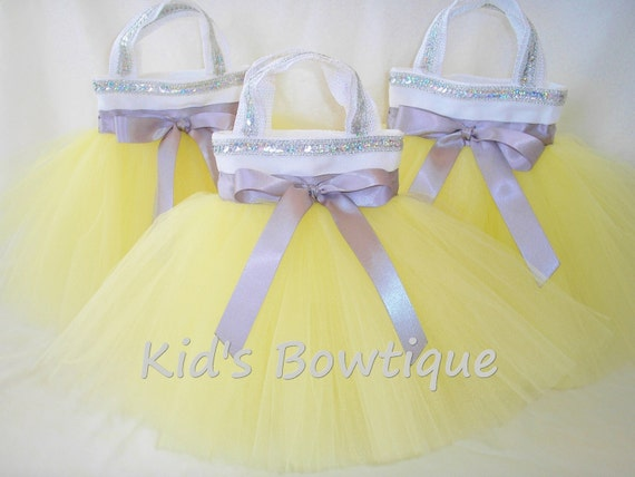 Set of 3 Flower Girl Gift Tutu Bags- Yellow with Silver Sequins Party Favor Tutu Purses - Baby Shower Decorations