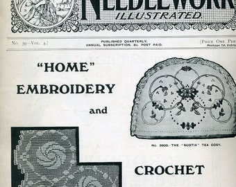 Fancy Needlework Illustrated 1917 Original Booklet Antique White Embroidery Crochet from ENGLAND