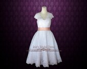 Retro 50s Tea Length Lace Wedding Dress with Short Sleeves | Short Wedding Dress | Vintage Style Wedding Dress | Cherry