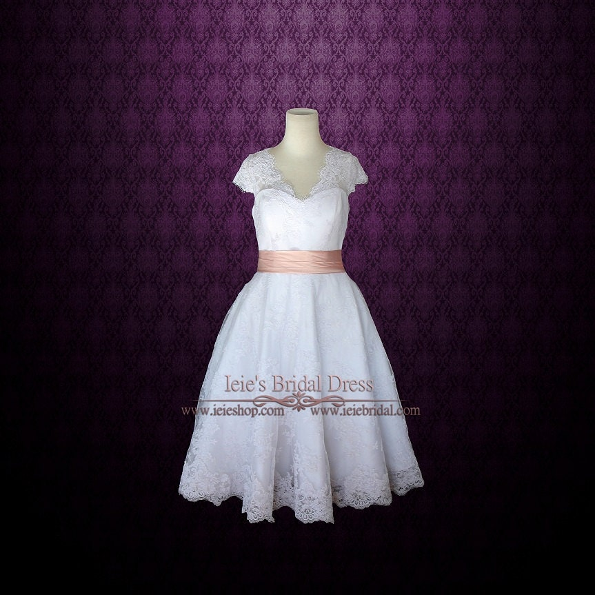 Retro 50s tea length lace wedding dress with short sleeves for Etsy tea length wedding dress