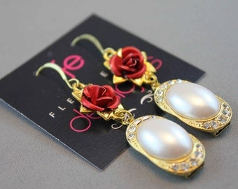 Prada Inspired Red Rose Flower Dangle Beaded Earrings with Pearls and Crystals in Gold, Red, White