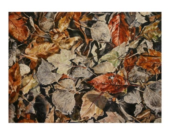 Watercolor Leaves Print- 7x10- Award Winning- Brown, Rust, Grey- Hidden Treasure- Inspirational Art- Horizontal