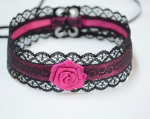 Elegant Textile Choker in Black and Hot Pink, Gothic and Renaissance Lace Satin Necklace with Rose, Baroque