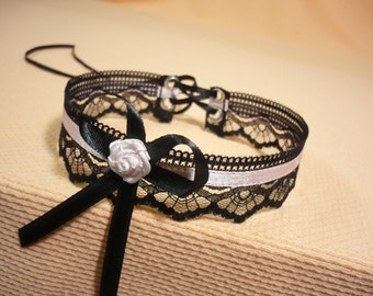 Baroque Choker with Lace in Gothic and Victorian Style, Black Pink, Lolita Necklace with Satin Bow, Party, Textile Jewelry, Regency Look