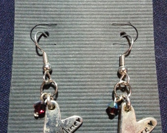 Be Mine/Amore Charms with Red Swarovski Crystal Earrings