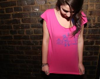 Drunk Bot Botwear Robot Shirt - Pink American Apparel Womens Large