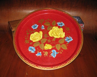 Antique British flowered metal serving tray, REDUCED