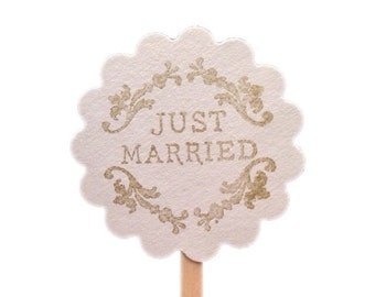 Just Married Wedding Cupcake Topper Custom Colors