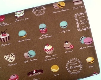 Macarons fabric, Lolita fabric, French cakes fabric, Quilt fabric, Japanese fabric, Cotton fabric, Retro fabric, 1 yard FB136