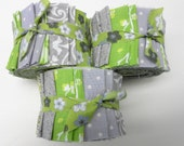 Green and Gray Quilt Fabric Jelly Roll Strips - SEW FUN QUILTS Time Saver Quilt Kit