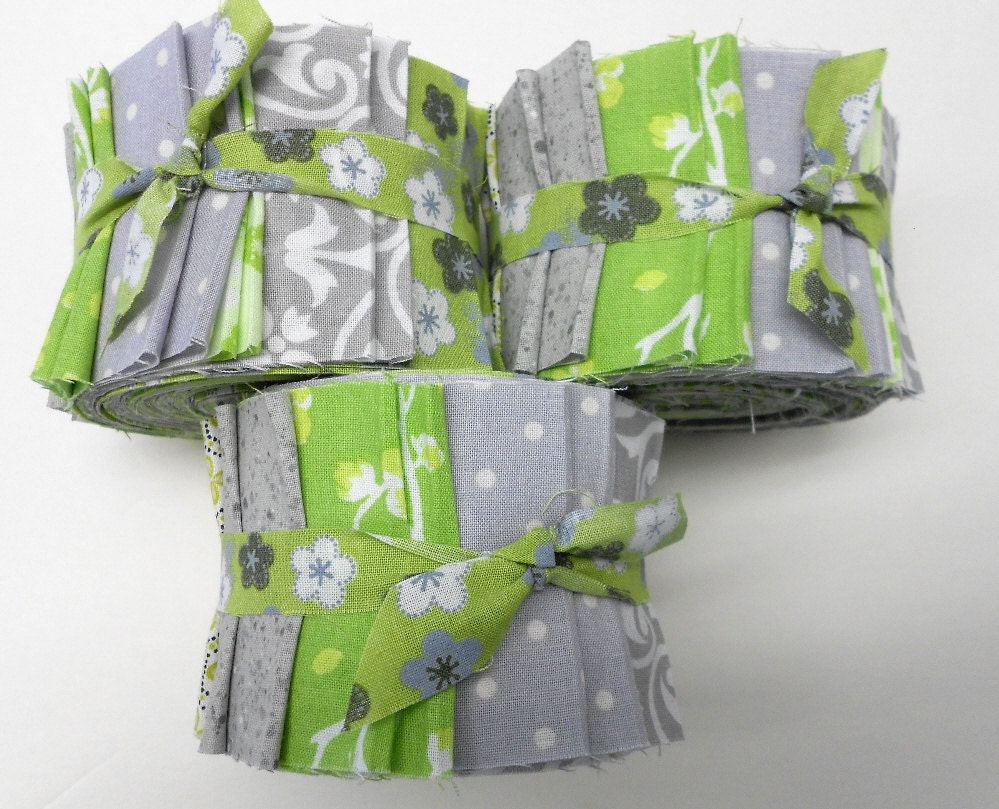 Green And Gray Quilt Fabric Jelly Roll Strips Sew Fun Quilts
