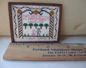 Doll House miniature cross stitched sampler