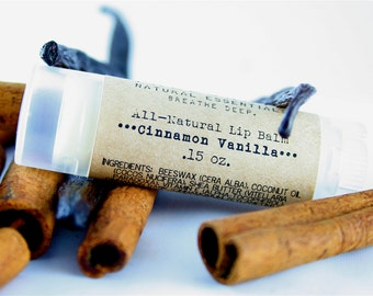 Cinnamon Vanilla Lip Balm - All-Natural - Oval Lip Balm - Gifts Under 5 - Gift - Birthday - Stocking Stuffer - Secret Santa