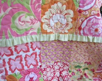 RUFFLED Girly BABY QUILT Featuring Heather Bailey Fabrics