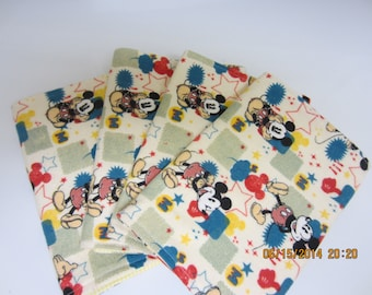 MICKEY MOUSE BURP Cloths Set Of Four Soft All Cotton Flannel For Boys Or Girls