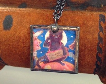 Vintage Halloween postcard pendant necklace saluting black cat and witch in front of full moon