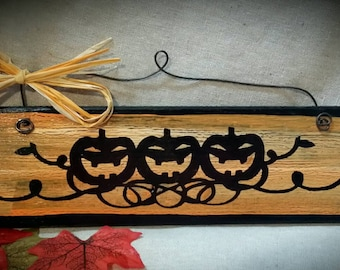 Halloween jack o lantern hand painted wooden sign