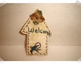 Birdhouse/ Muslin Fabric/ Ornament, Magnet, Pin OR Key Ring/ Handmade**