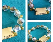 Golden Queen Bracelet with Hand Stamped Focal and Gold Accent Beads