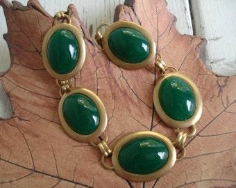 Vintage Forest Green West German Jade Glass Gold Bracelet