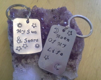Game of Thrones 2 Handstamped Rings or Keychains Moon Of My Life, My Sun & Stars - Free Shipping