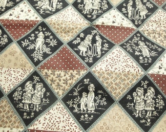 """Vintage Fabric toile, black, brown, patchwork, country look, Andover fabric, 1980's, 1 yard plus 26"""""""